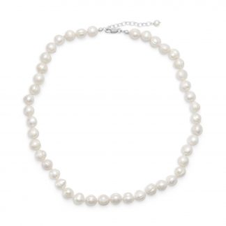 """18""""+2"""" Extension White Cultured Freshwater Pearl Necklace"""
