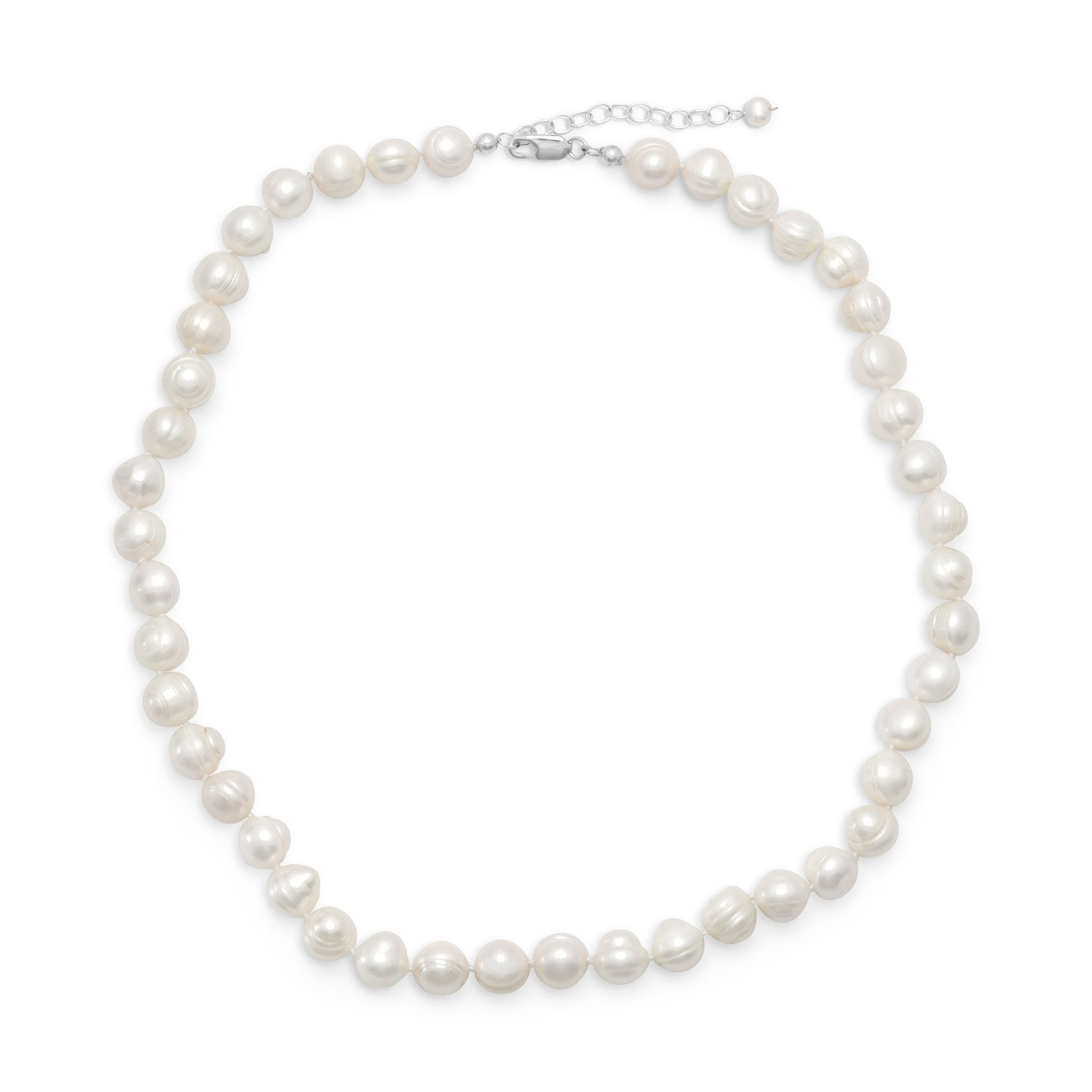18″+2″ Extension White Cultured Freshwater Pearl Necklace