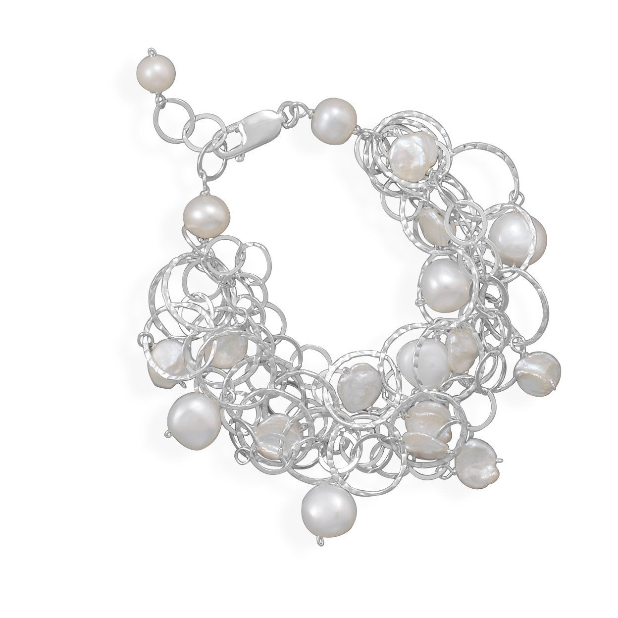 7″+1″ Extension 5 Strand Bracelet with Cultured Freshwater Pearls