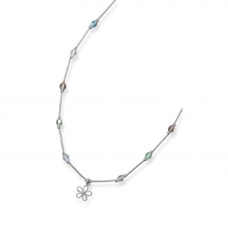 """13""""+2"""" Extension Necklace with Multicolor Crystals and Flower Charm"""