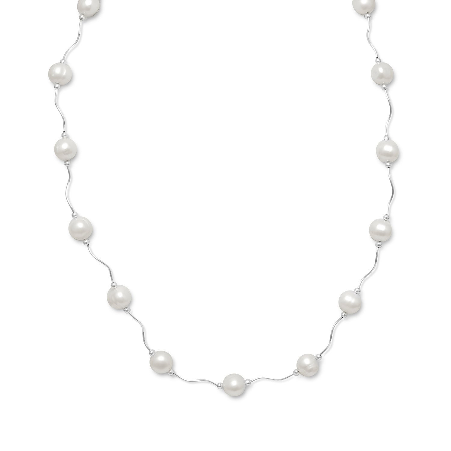 17″+2″ Extension Wave Design Necklace with Cultured Freshwater Pearls