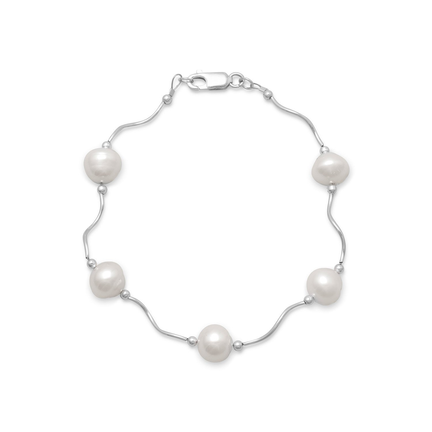 8″ Wave Design Bracelet with Cultured Freshwater Pearls