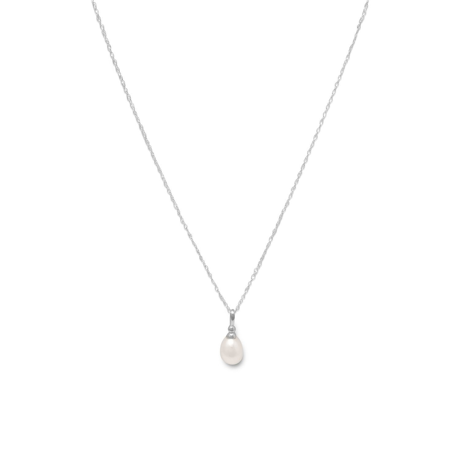 18″ Rhodium Plated Cultured Freshwater Pearl Drop Necklace