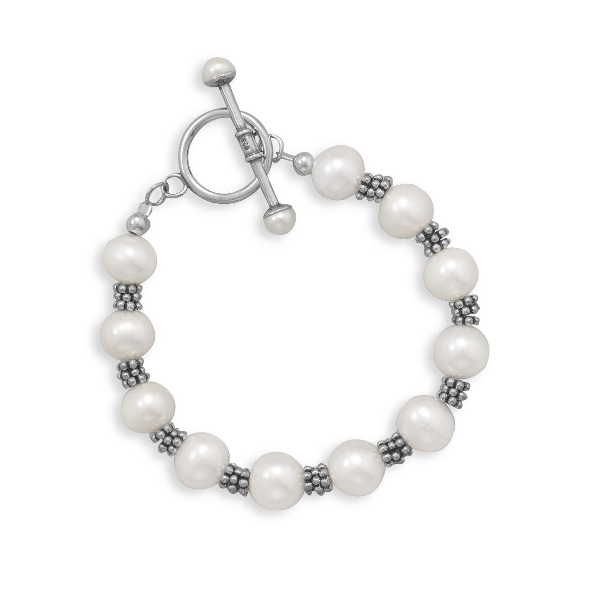 7″ White Cultured Freshwater Pearl Toggle Bracelet