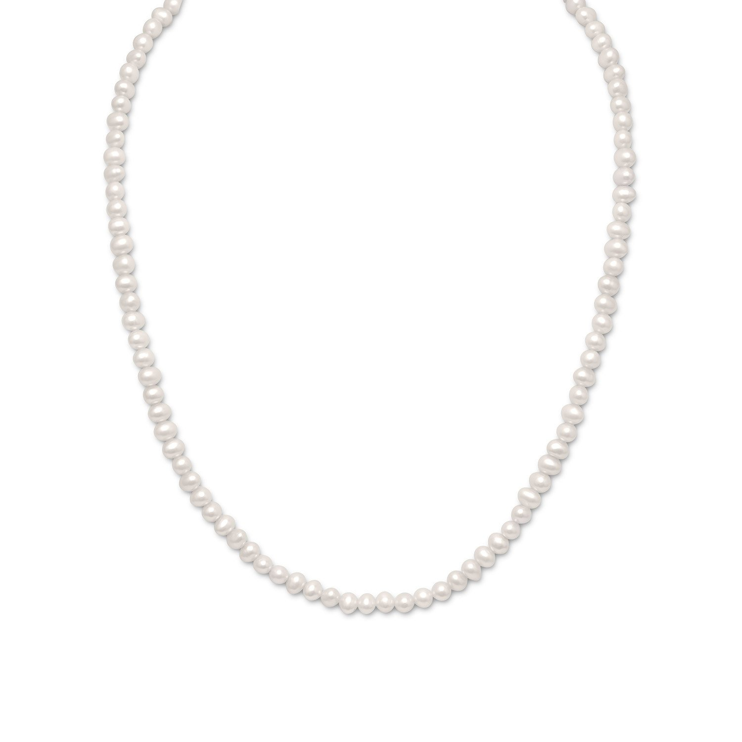 15″+2″ Extension White Cultured Freshwater Pearl Necklace