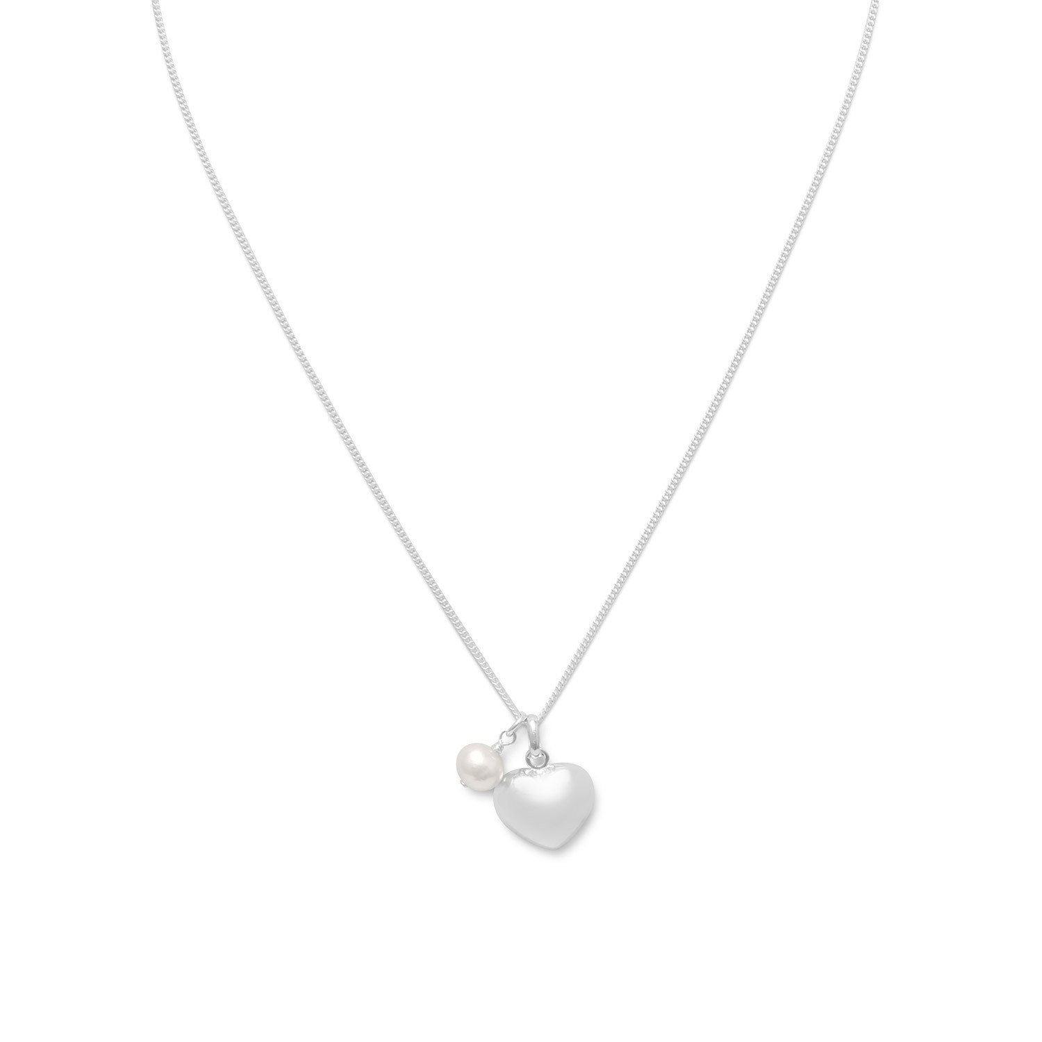 16″ Multicharm Heart & Cultured Freshwater Pearl Necklace