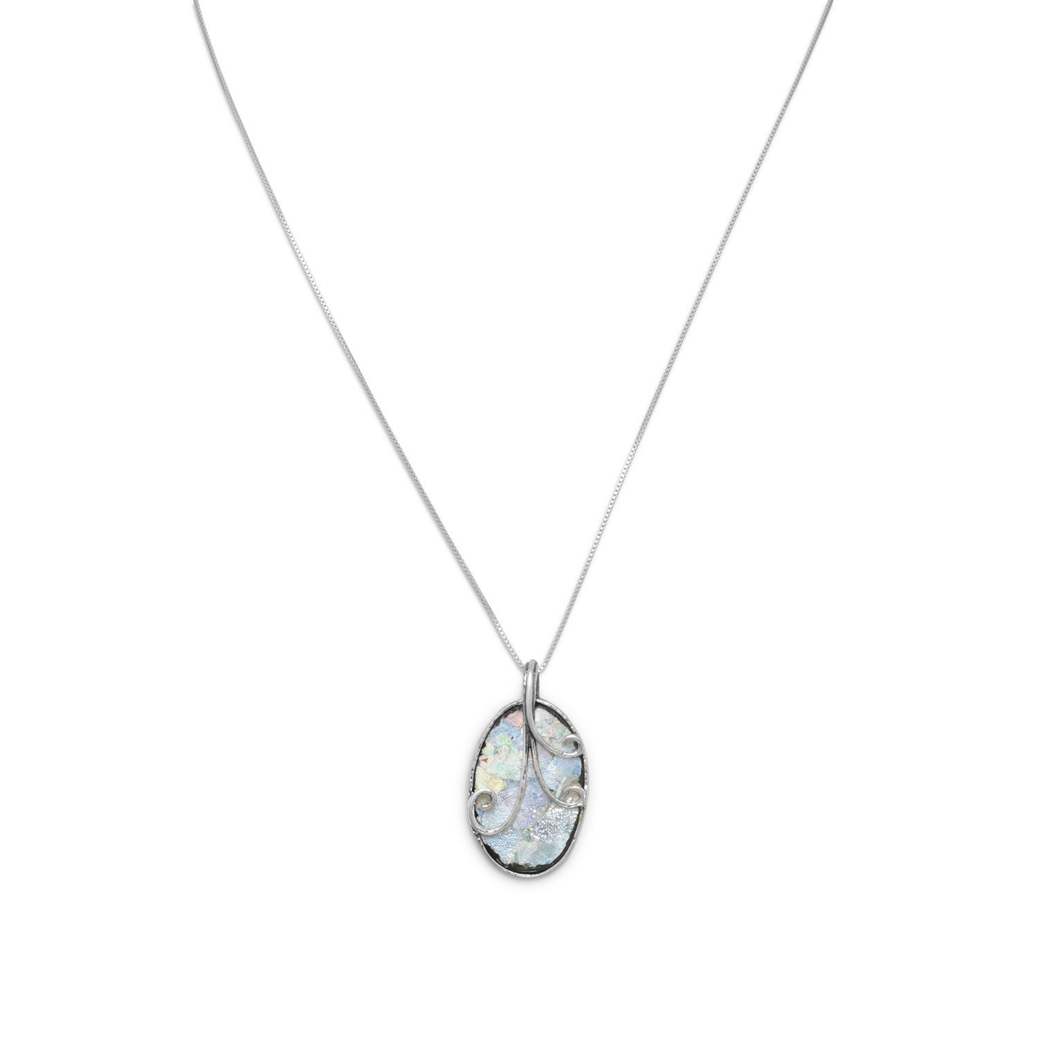 18″ Oval Roman Glass with Wire Design Necklace