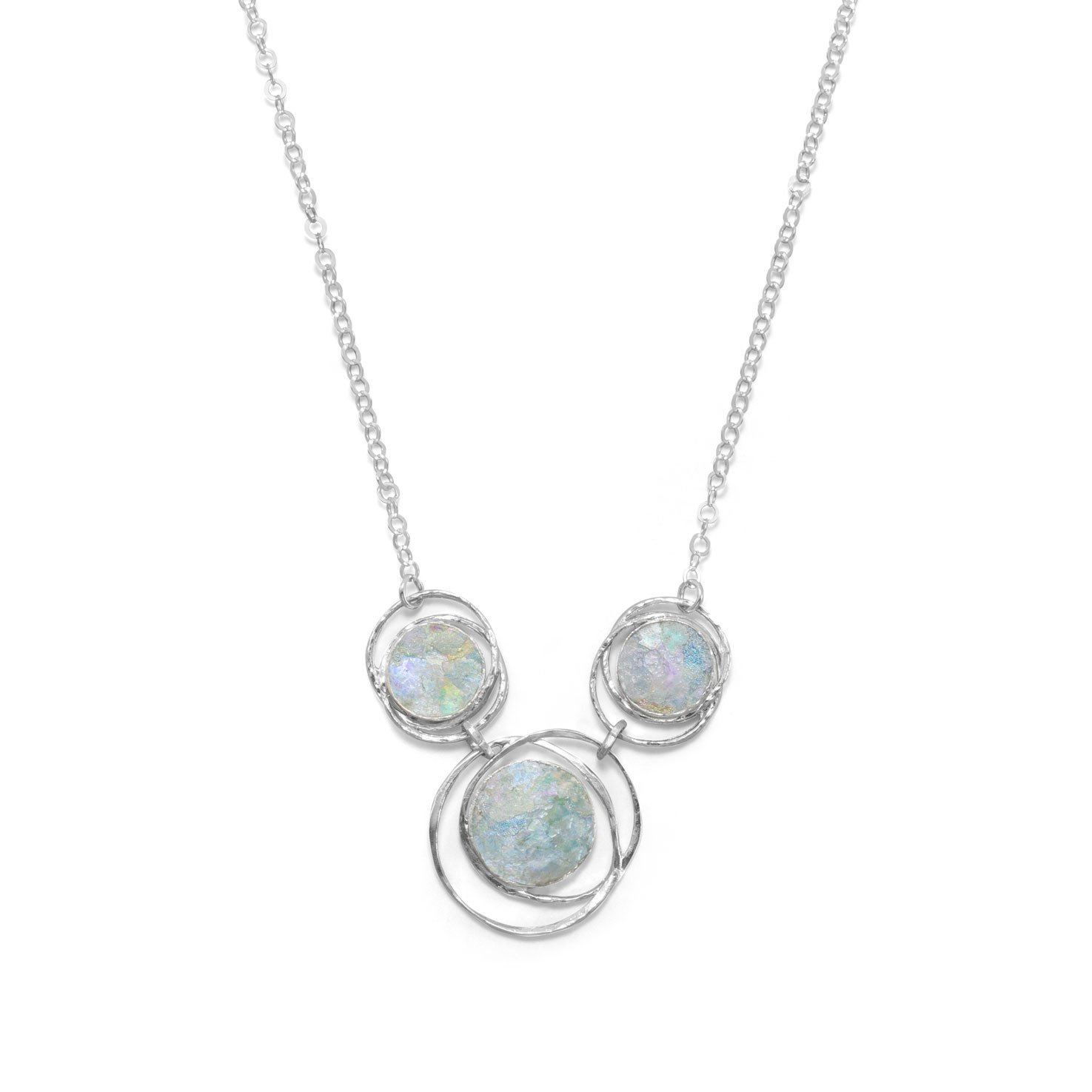 17″ Abstract Circle Roman Glass Necklace