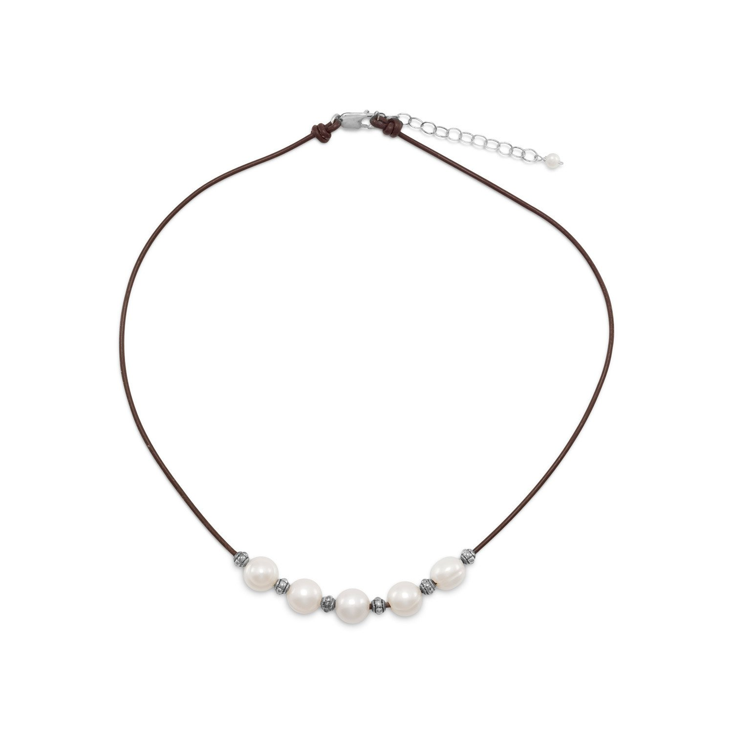 16″+2″ Leather and Cultured Freshwater Pearl Necklace