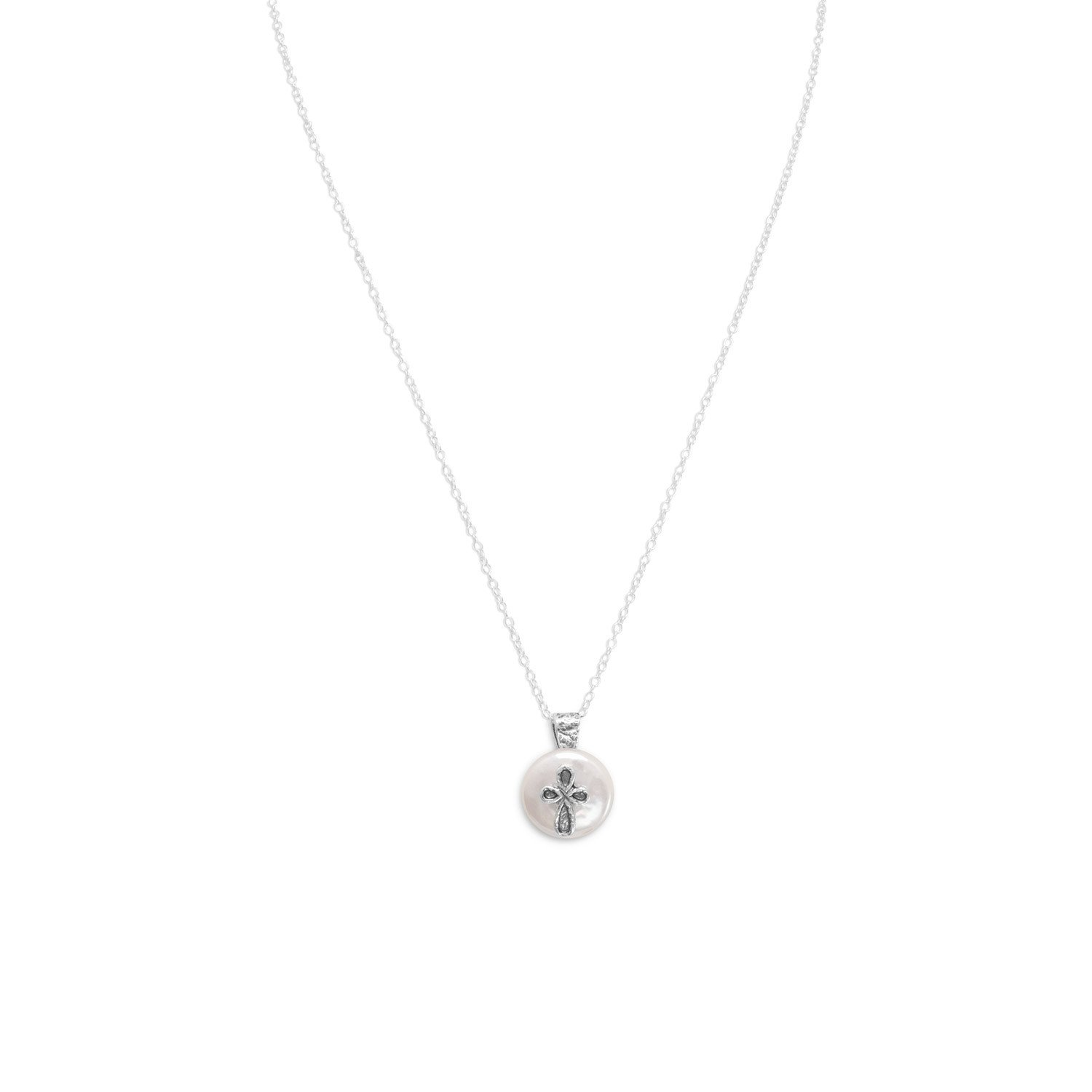17.5″ Cultured Freshwater Pearl with Cross Design Necklace