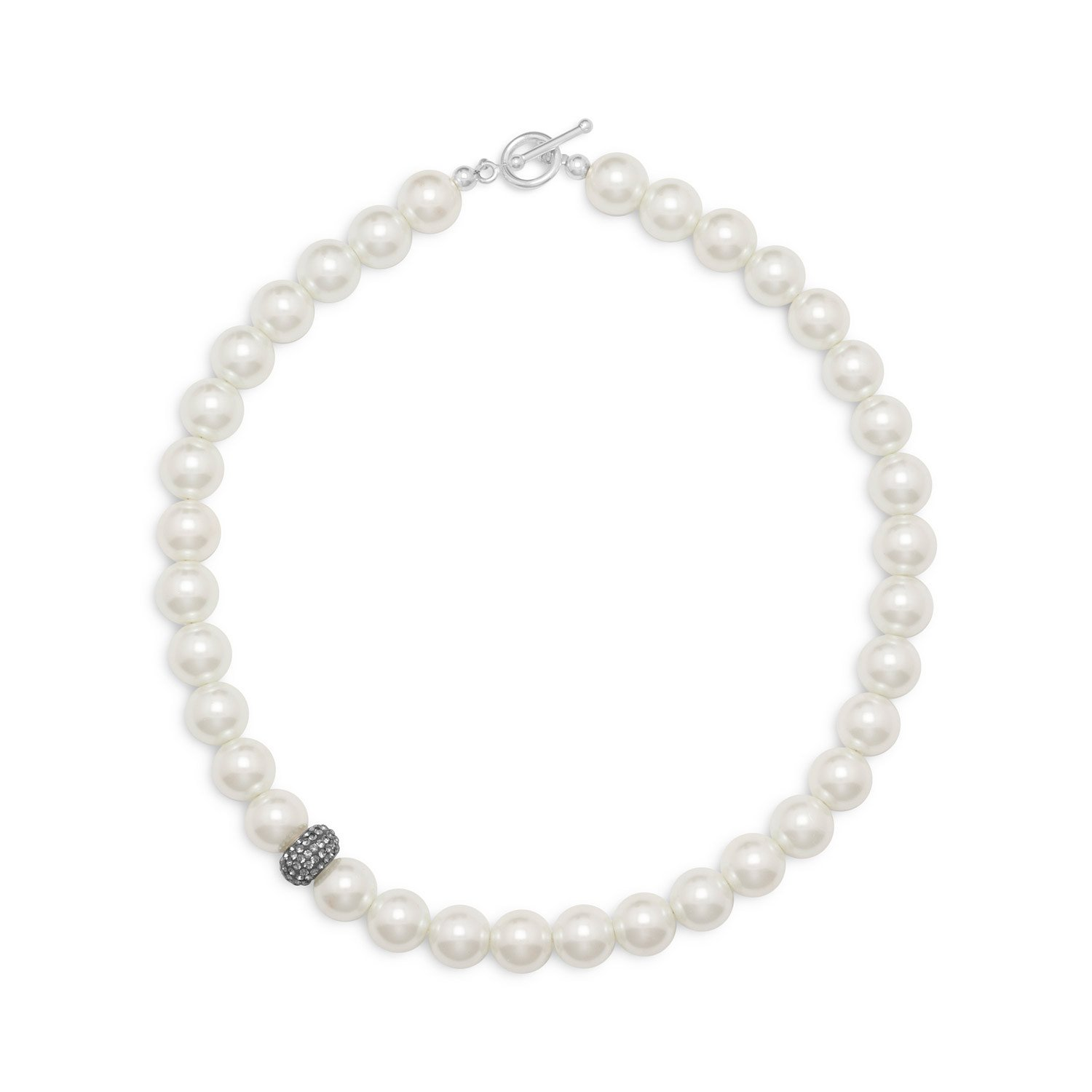 17.5″ White Glass Pearl and Crystal Necklace