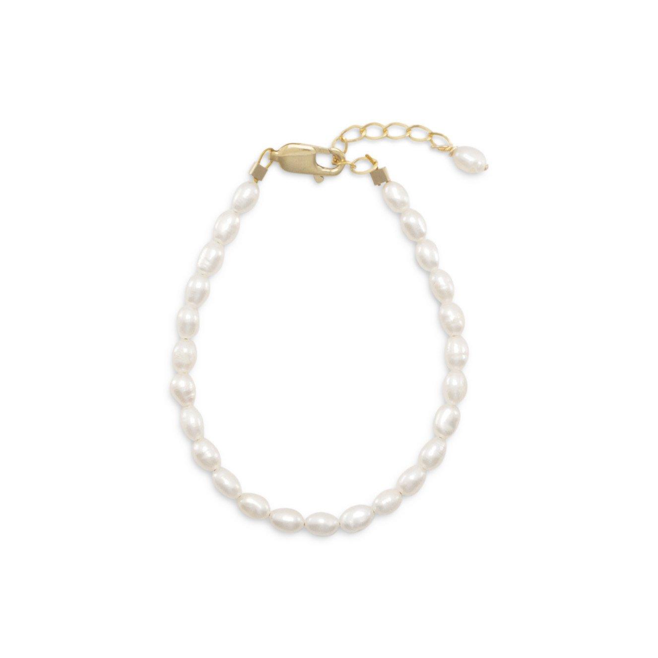 5″+1″ 14/20 Gold Filled Cultured Freshwater Rice Pearl Bracelet