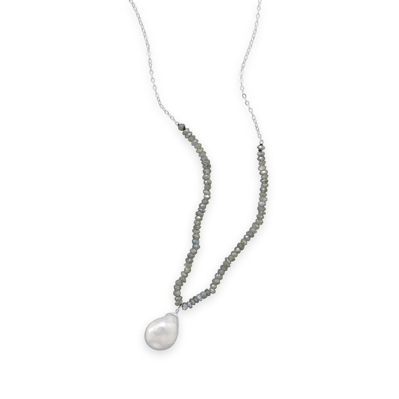 16″+2″ Labradorite and Baroque Pearl Drop Necklace