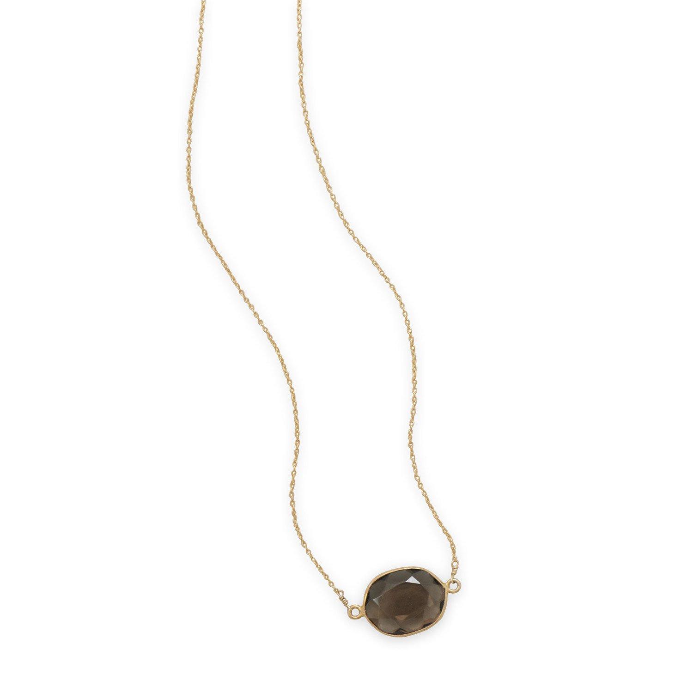 16″+2″ 14 Karat Gold Plated Smoky Quartz Necklace