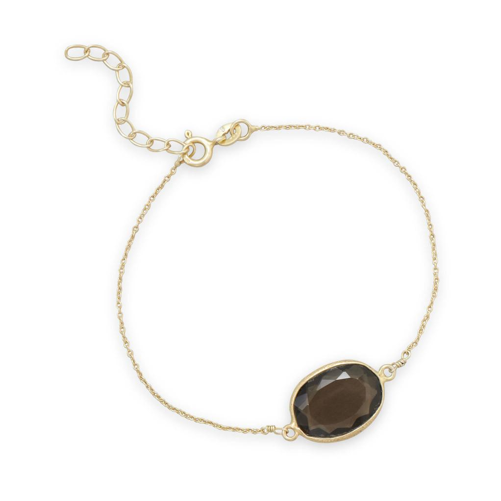 7″+1″ 14 Karat Gold Plated Smoky Quartz Bracelet