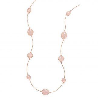 """24"""" 14 Karat Rose Gold Plated Rose Quartz Necklace"""