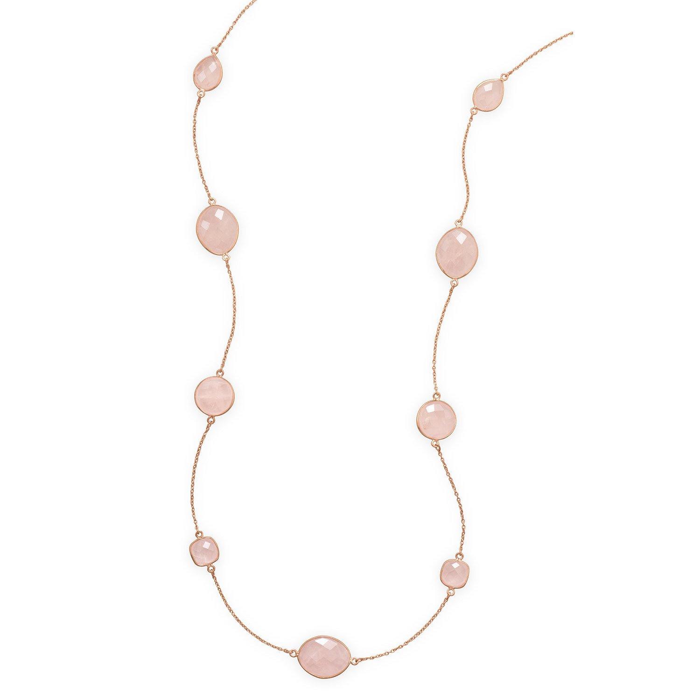 24″ 14 Karat Rose Gold Plated Rose Quartz Necklace