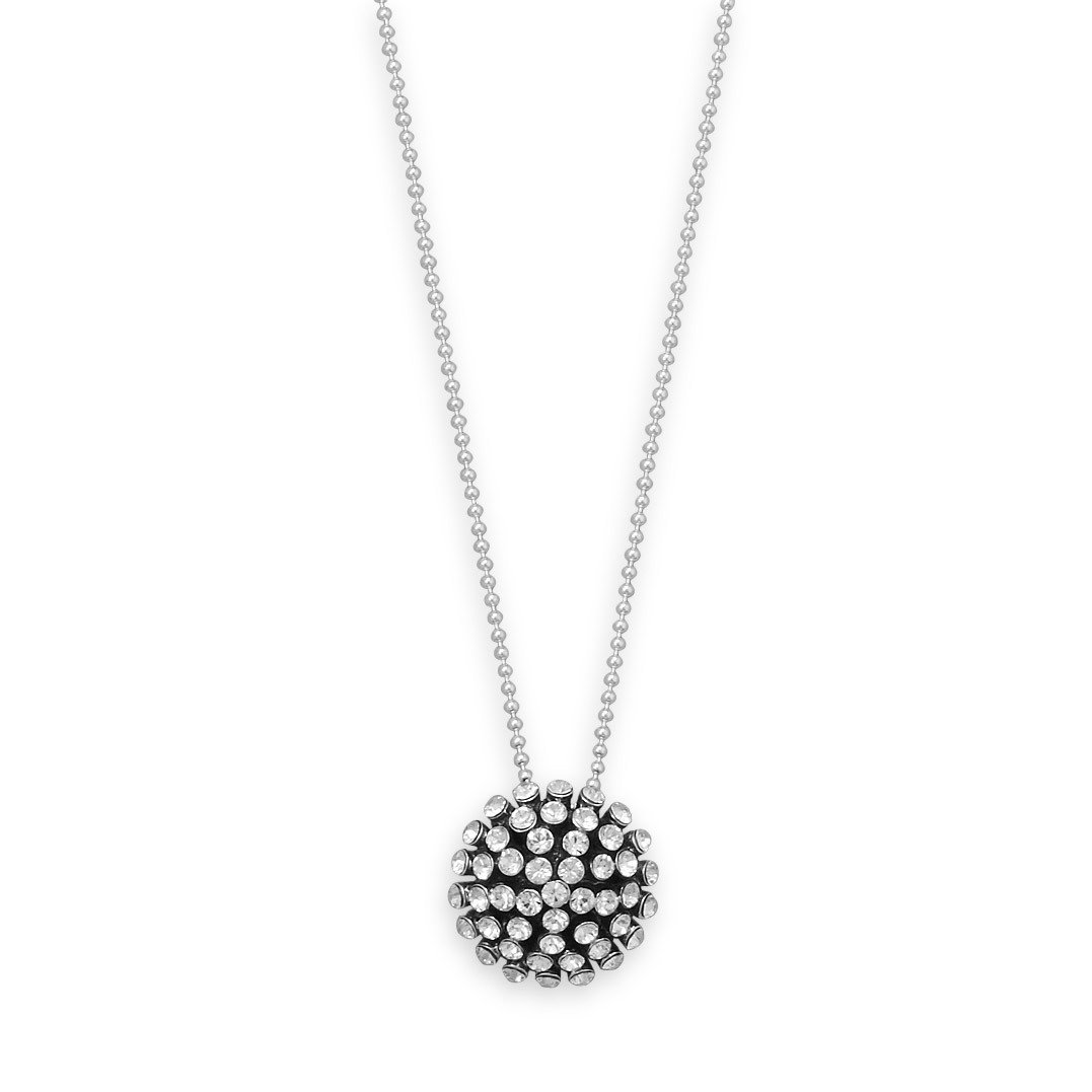 16″ Necklace with Oxidized Domed Crystal Pendant