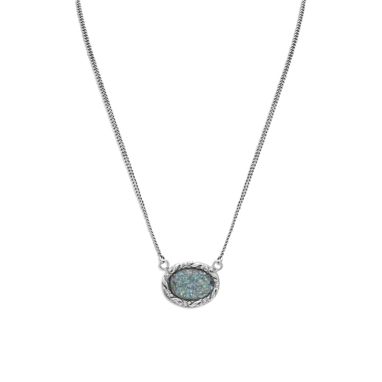 18″ Oval Roman Glass Necklace