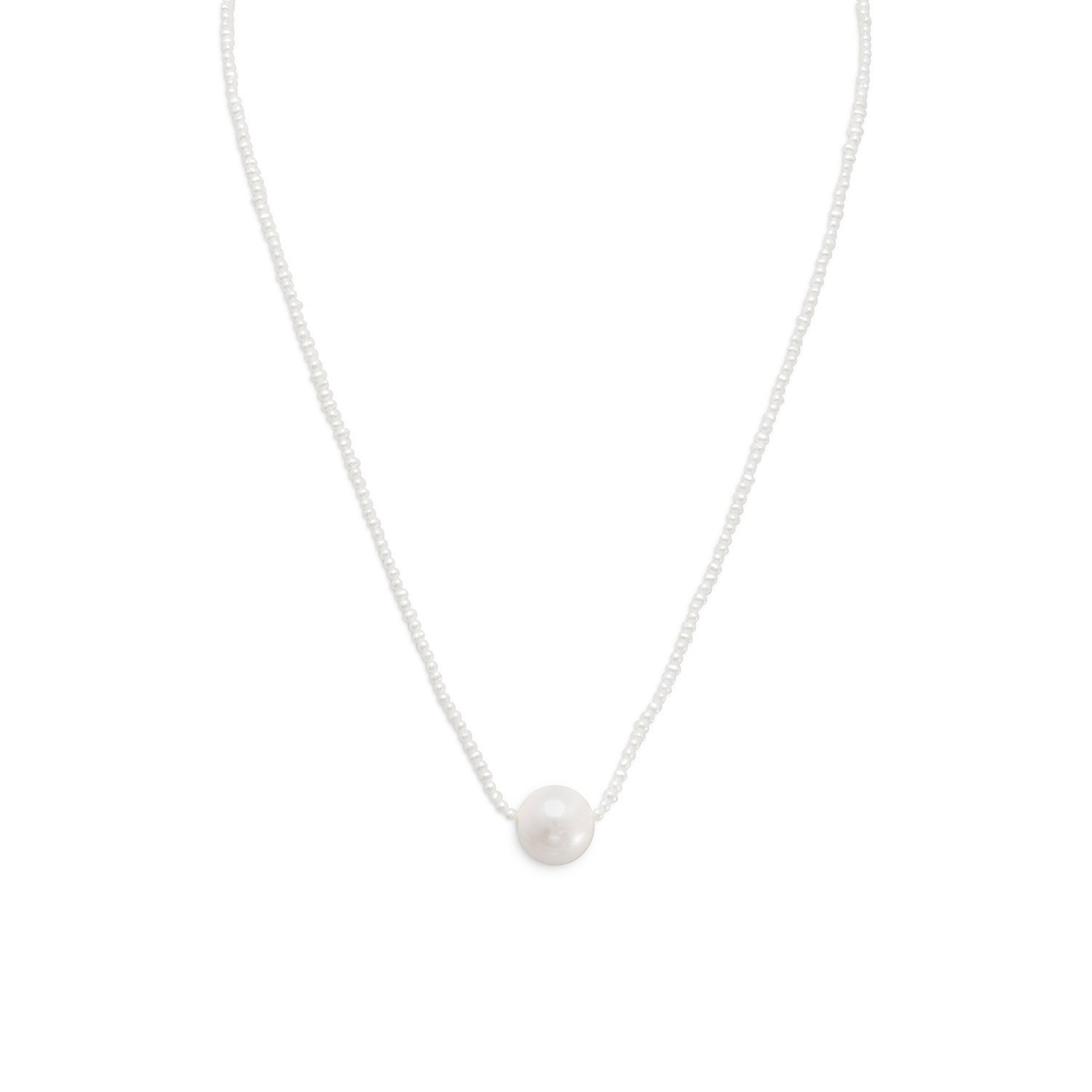 16″ + 1″ Cultured Freshwater Pearl Necklace