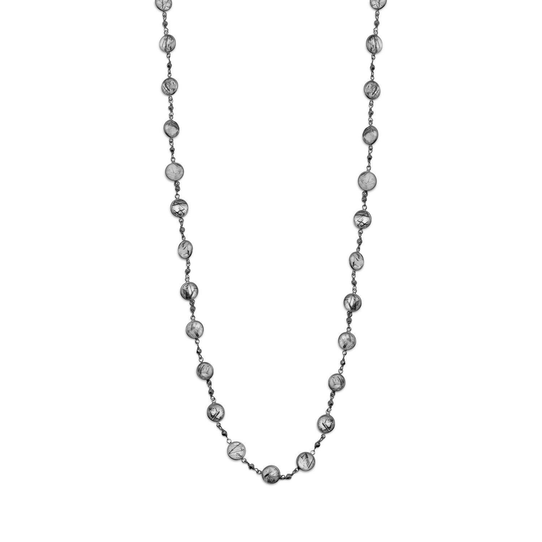 28″ Tourmalinated Quartz Necklace
