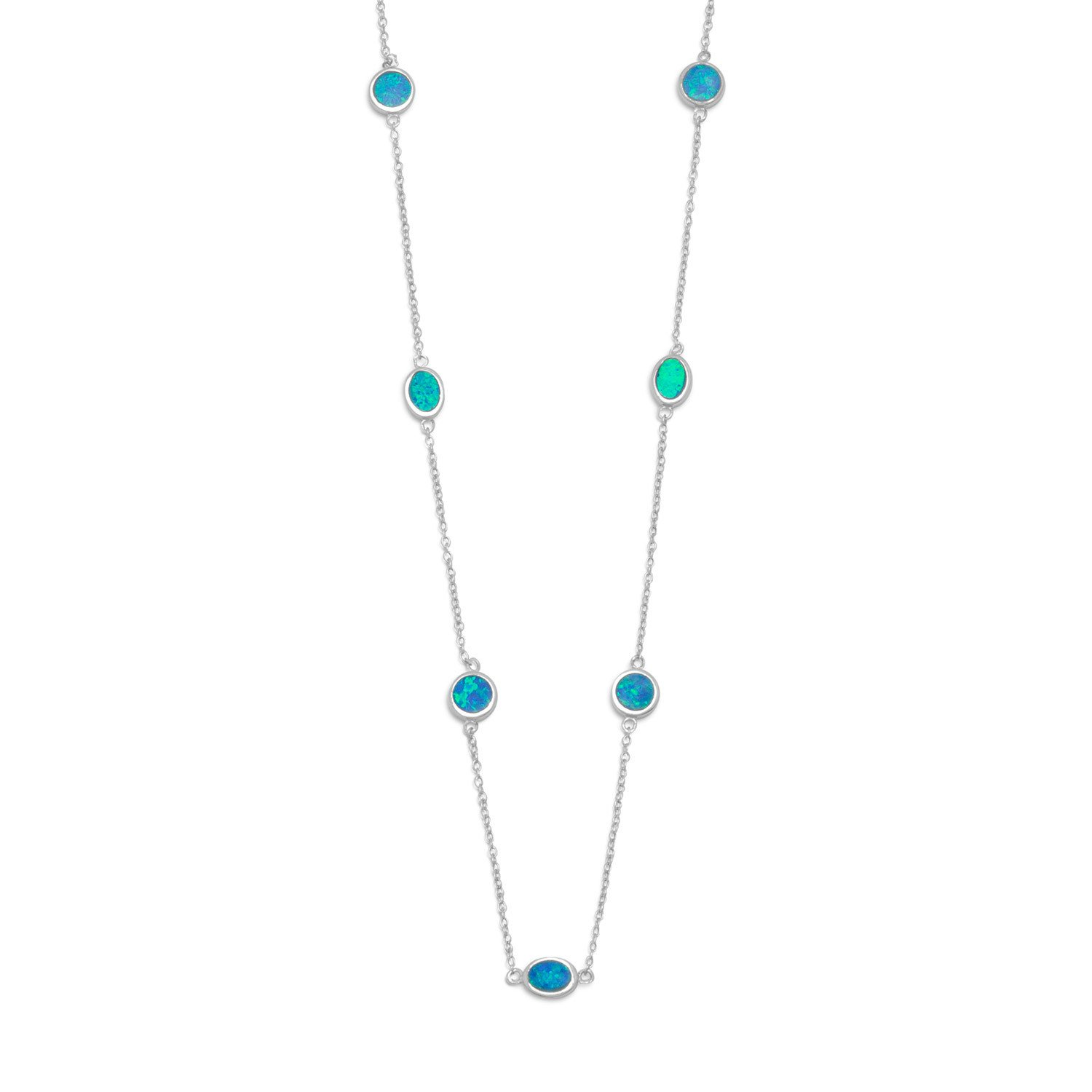 16″ + 2″ Rhodium Plated Synthetic Blue Opal Necklace