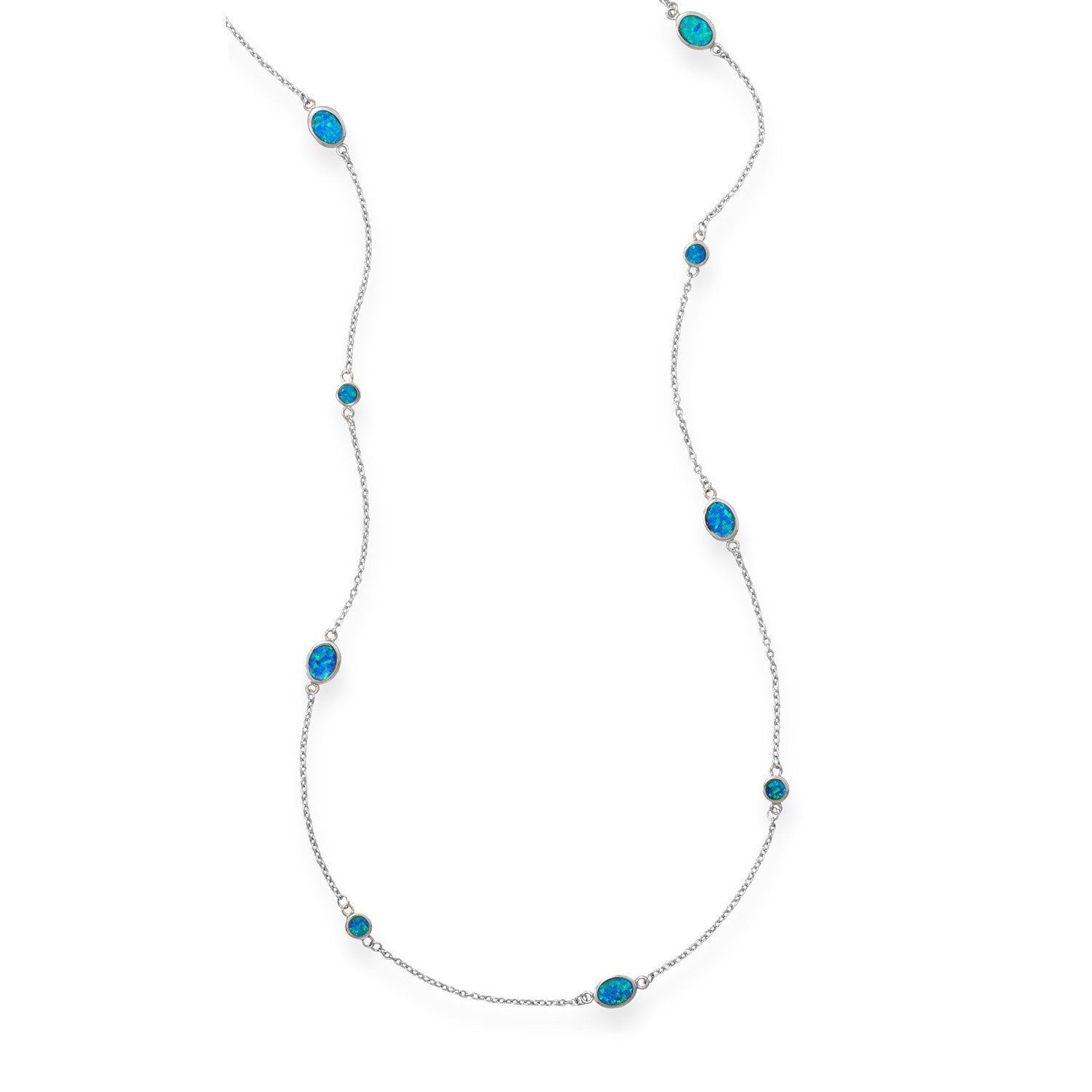 46″ Multishape Synthetic Blue Opal Necklace