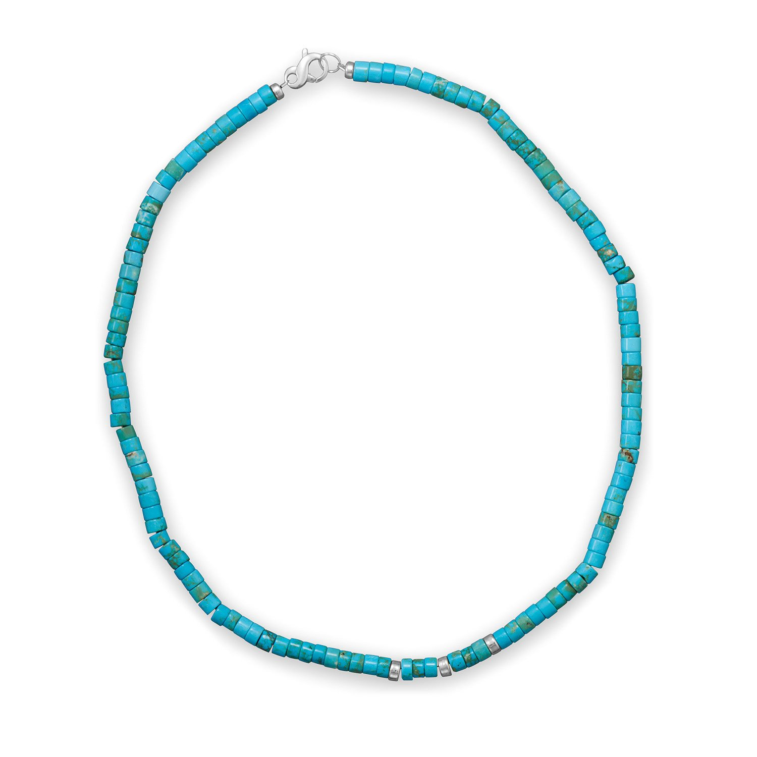 21″ Reconstituted Turquoise Heshi Bead Necklace