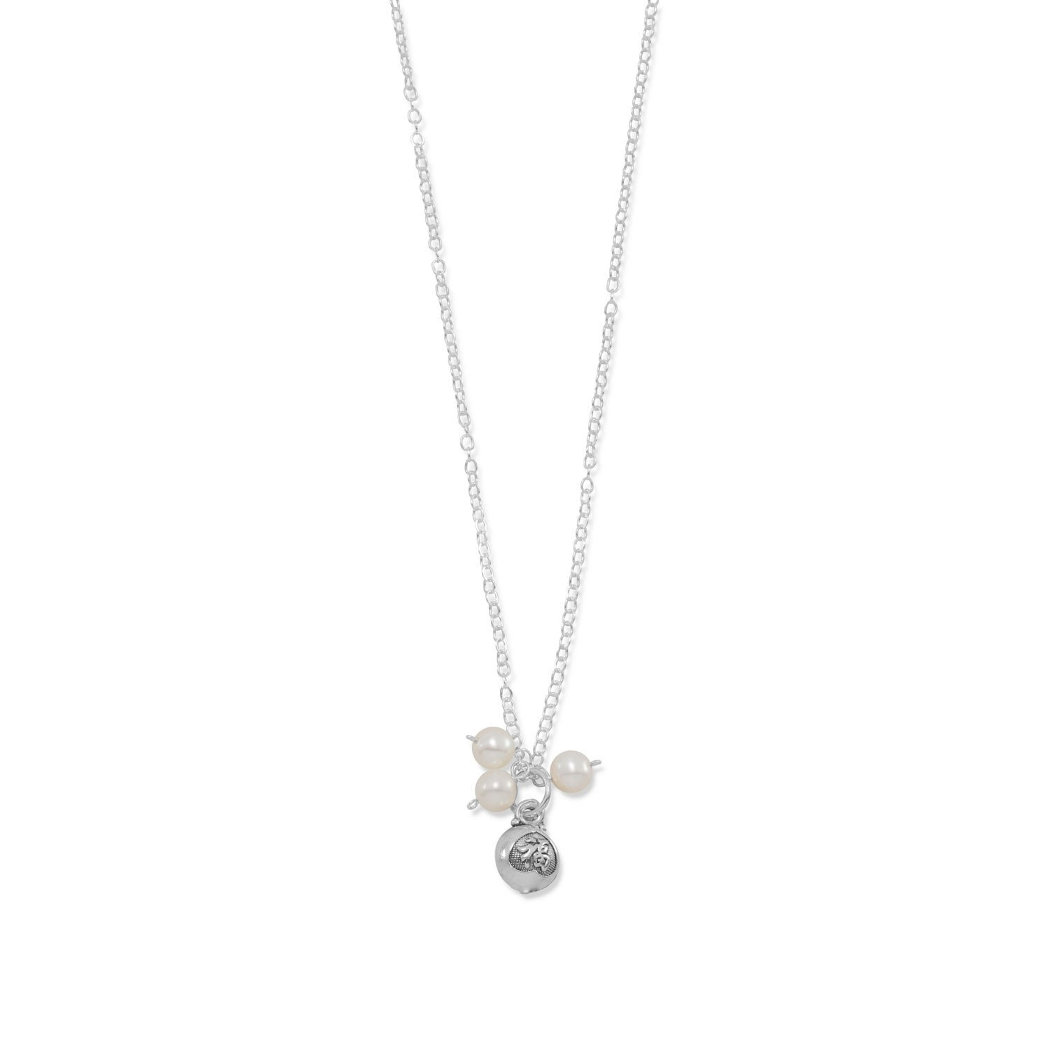 """16″ + 1″ """"Blessed"""" Cultured Freshwater Pearl Charm Necklace"""