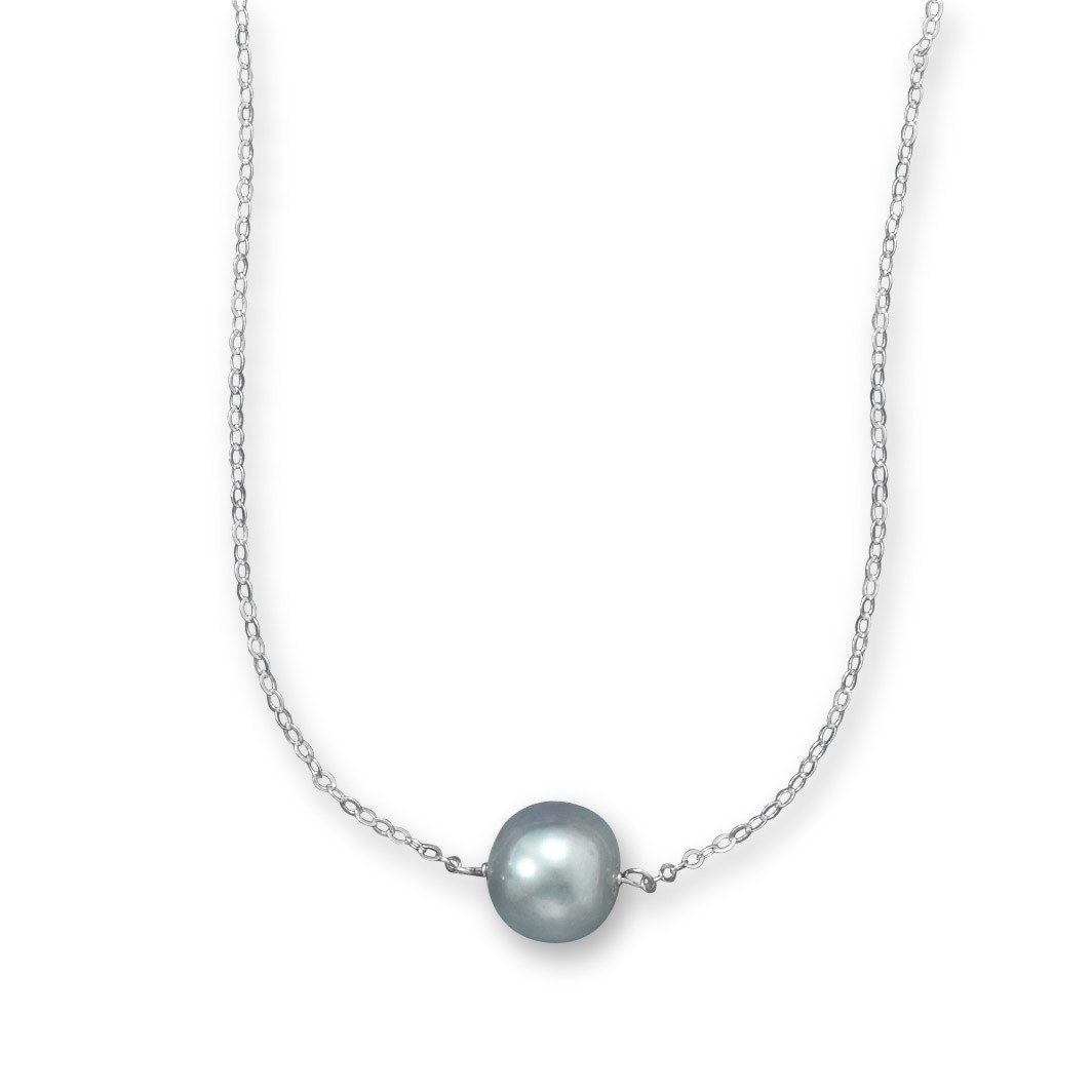 16″ + 2″ Silver Cultured Freshwater Pearl Necklace