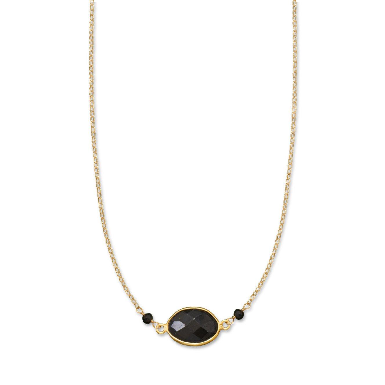 16″ + 1.5″ 14/20 Gold Filled Black Spinel Necklace