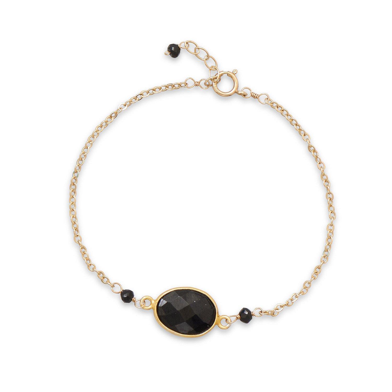 7″ + .5″ 14/20 Gold Filled Black Spinel Bracelet