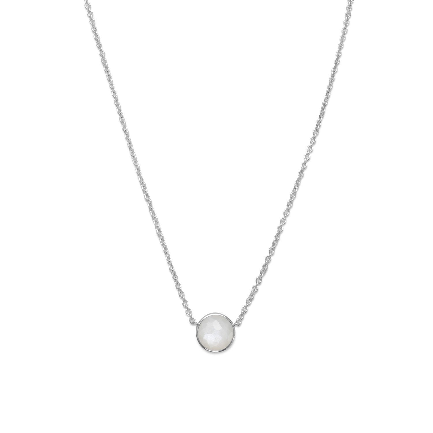 16″ + 2″ Freeform Faceted Moonstone Necklace