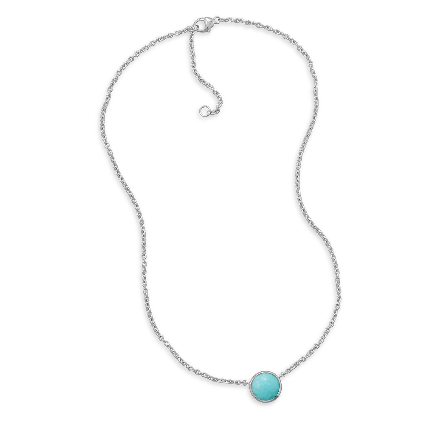16″ + 2″ Freeform Faceted Turquoise Necklace