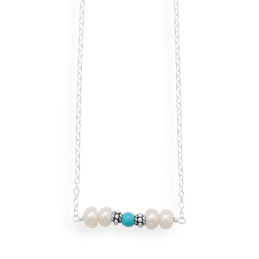 16″ Handmade Necklace with Dyed Magnesite And Pearl Bar
