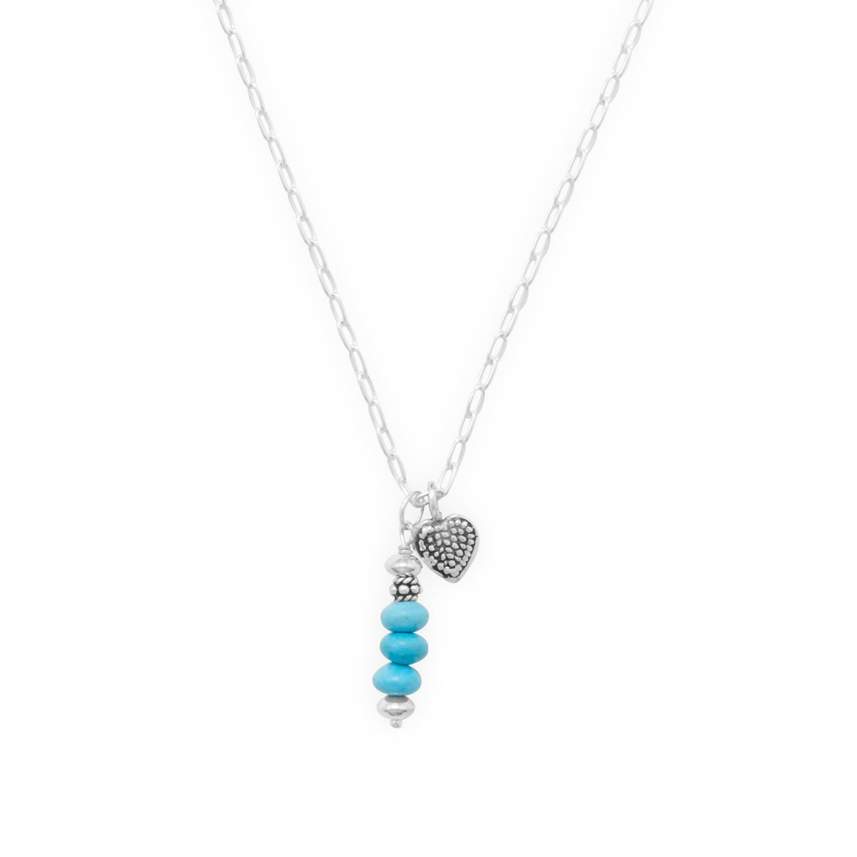 16″ Handmade Necklace with Reconstituted Turquoise Totem and Heart Charm