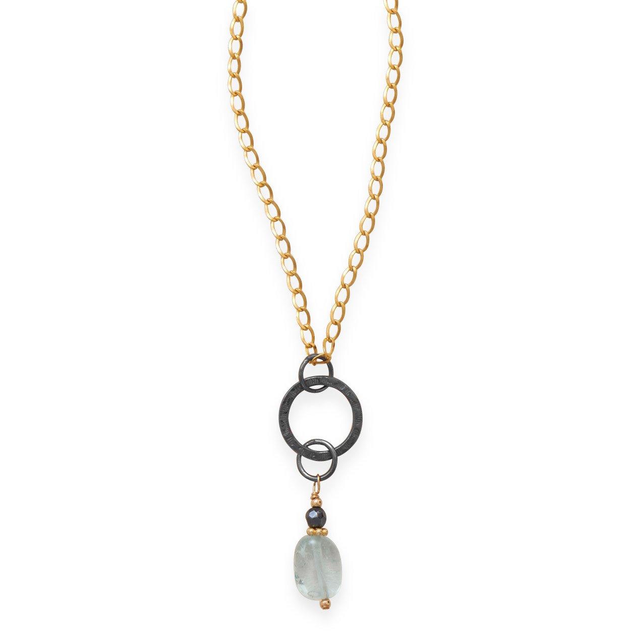 Blue Quartz Rain Drop Necklace