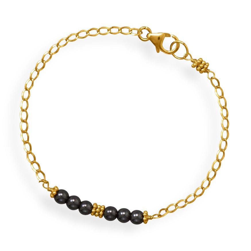 Handmade Hematite Bar Bracelet