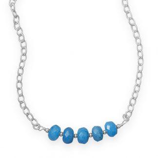 "16"" Handmade Blue Quartz Rondell Bead Necklace"