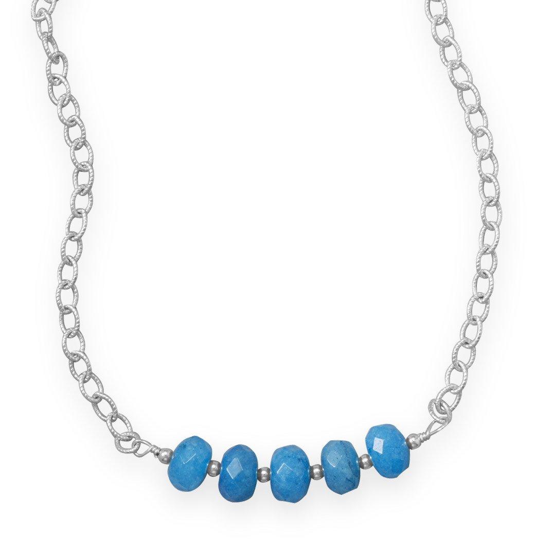 16″ Handmade Blue Quartz Rondell Bead Necklace