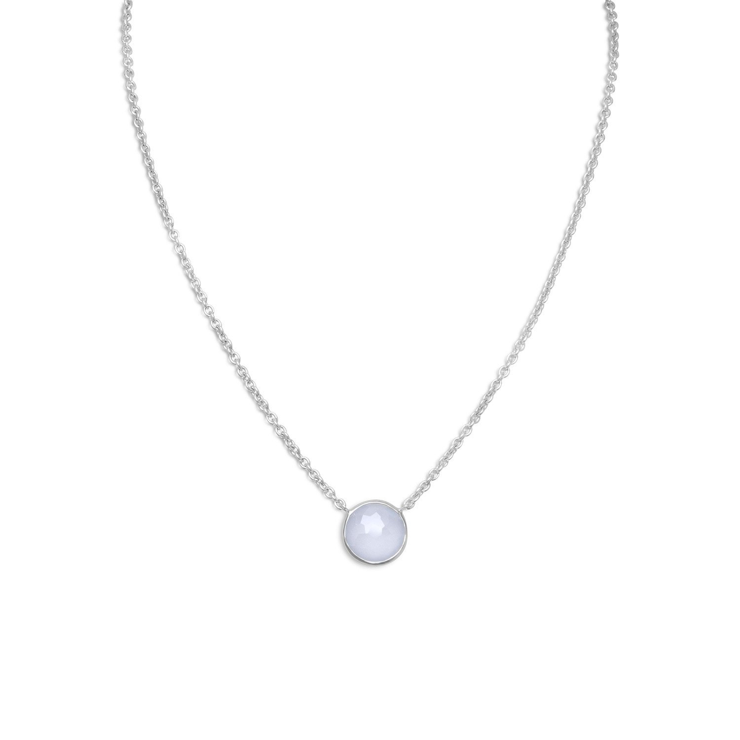 16″ + 2″ Freeform Faceted Blue Chalcedony Necklace