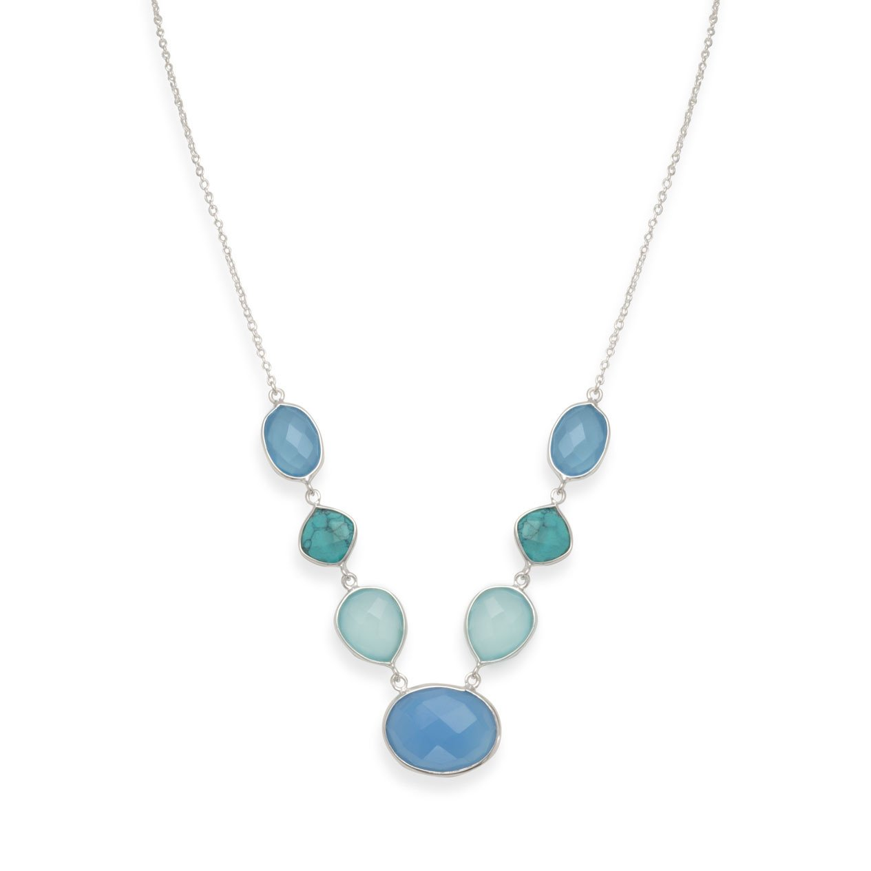 Stabilized Turquoise and Chalcedony Necklace