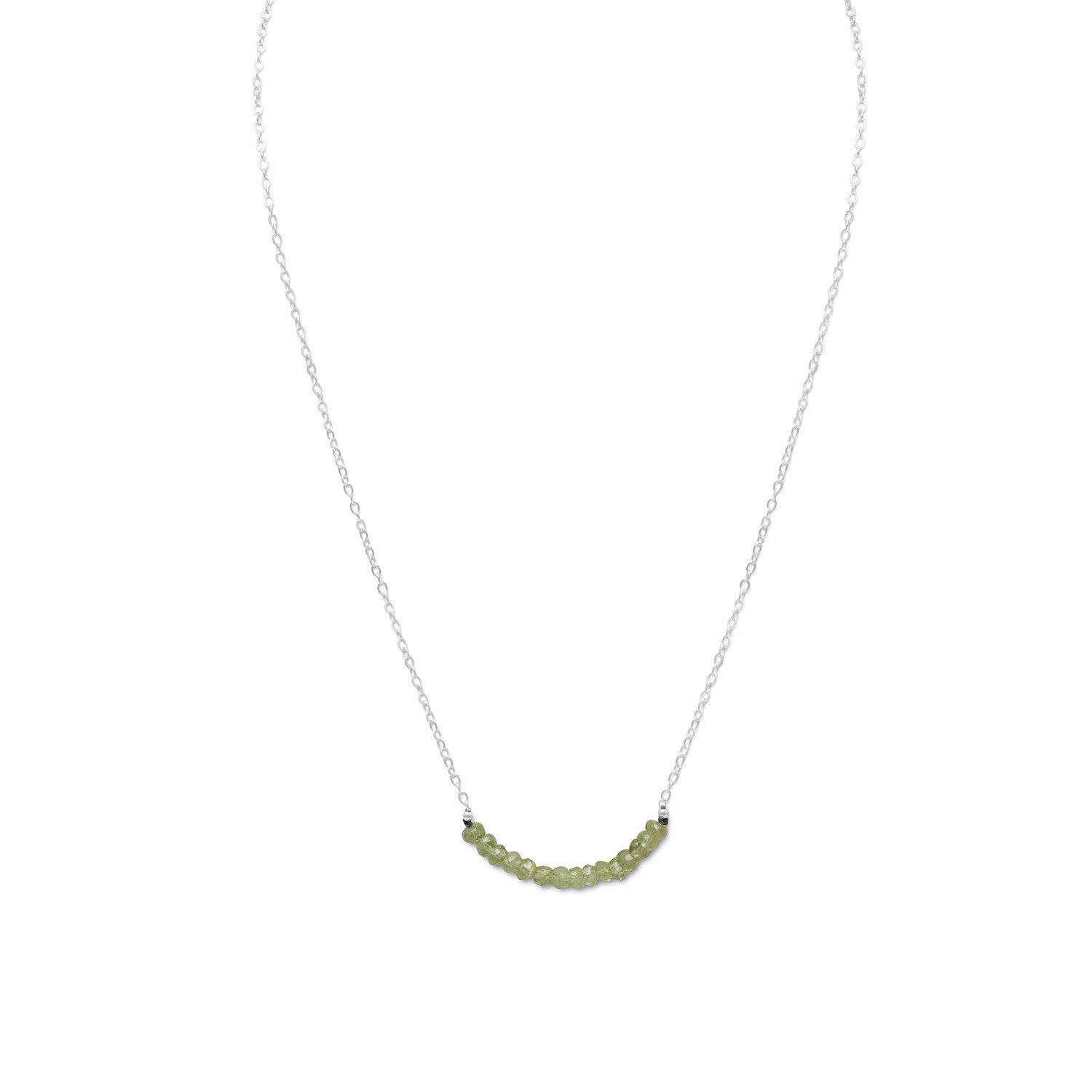 Faceted Peridot Bead Necklace – August Birthstone
