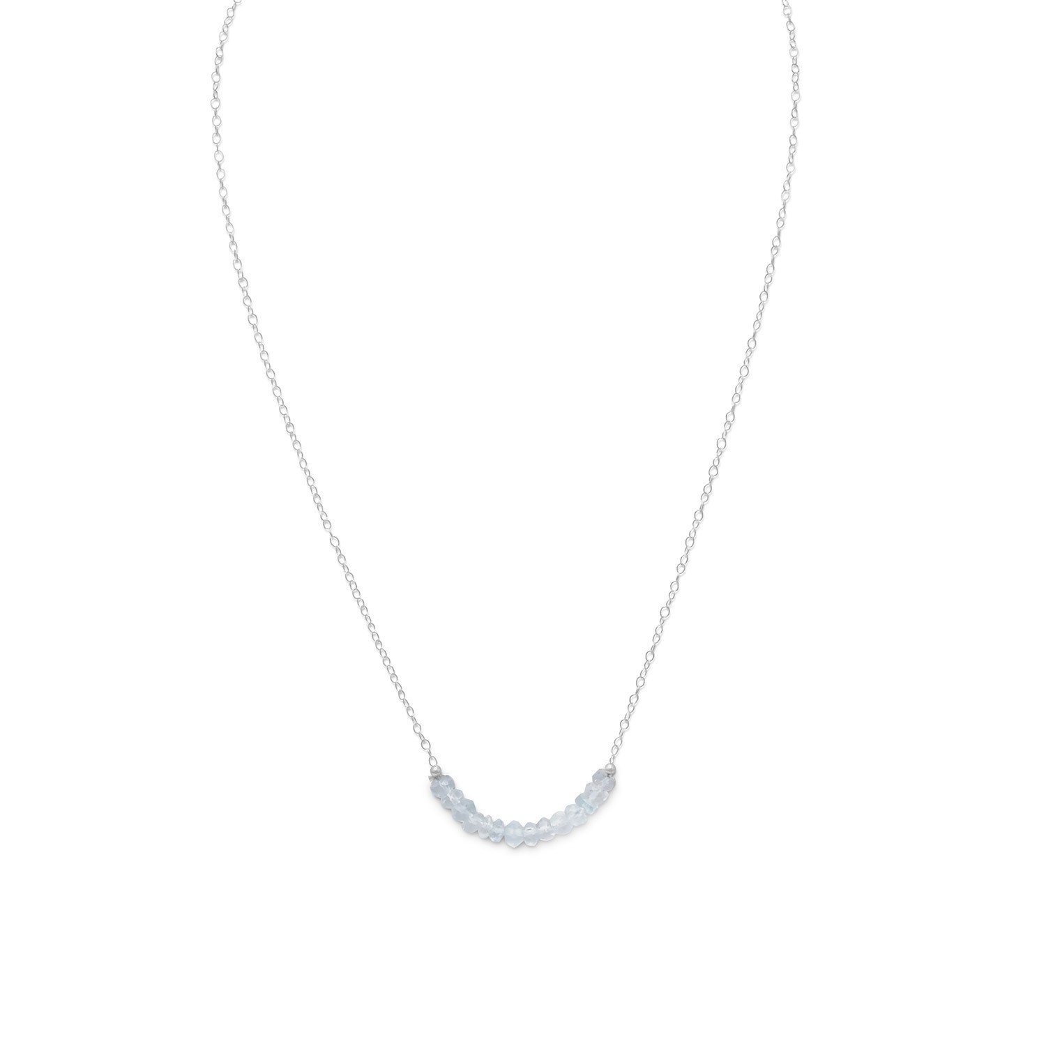 Faceted Aquamarine Bead Necklace – March Birthstone
