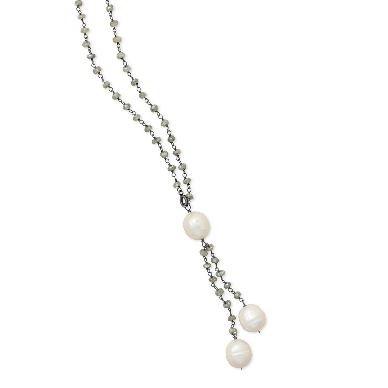 Labradorite Necklace with Cultured Freshwater Pearl Drop
