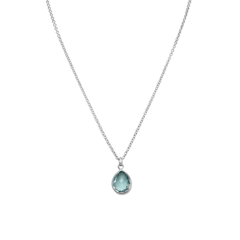 16″ + 2″ Freeform Faceted Pear Hydro Quartz Necklace