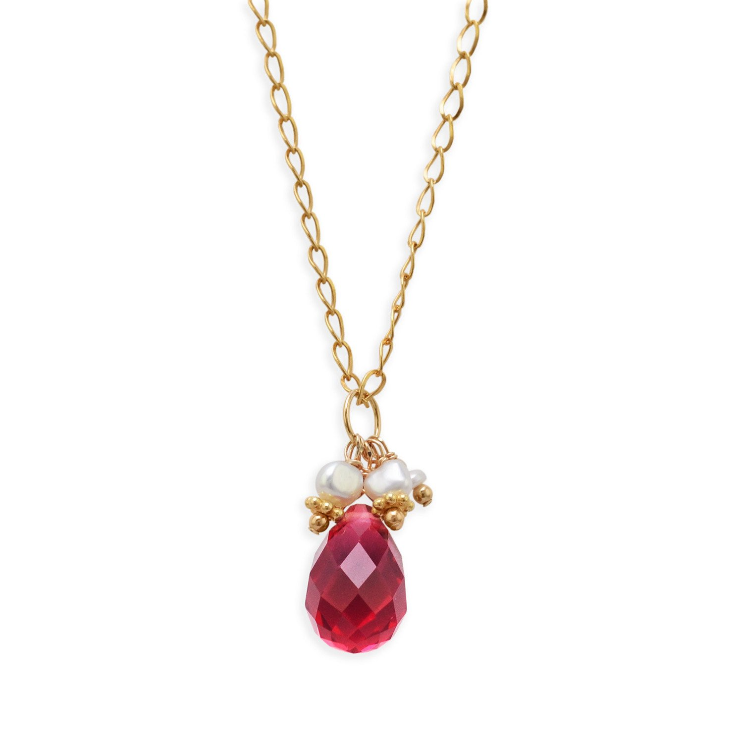 16″ 14/20 Gold Filled Necklace with Red Glass Briolette and Cultured Freshwater Pearls