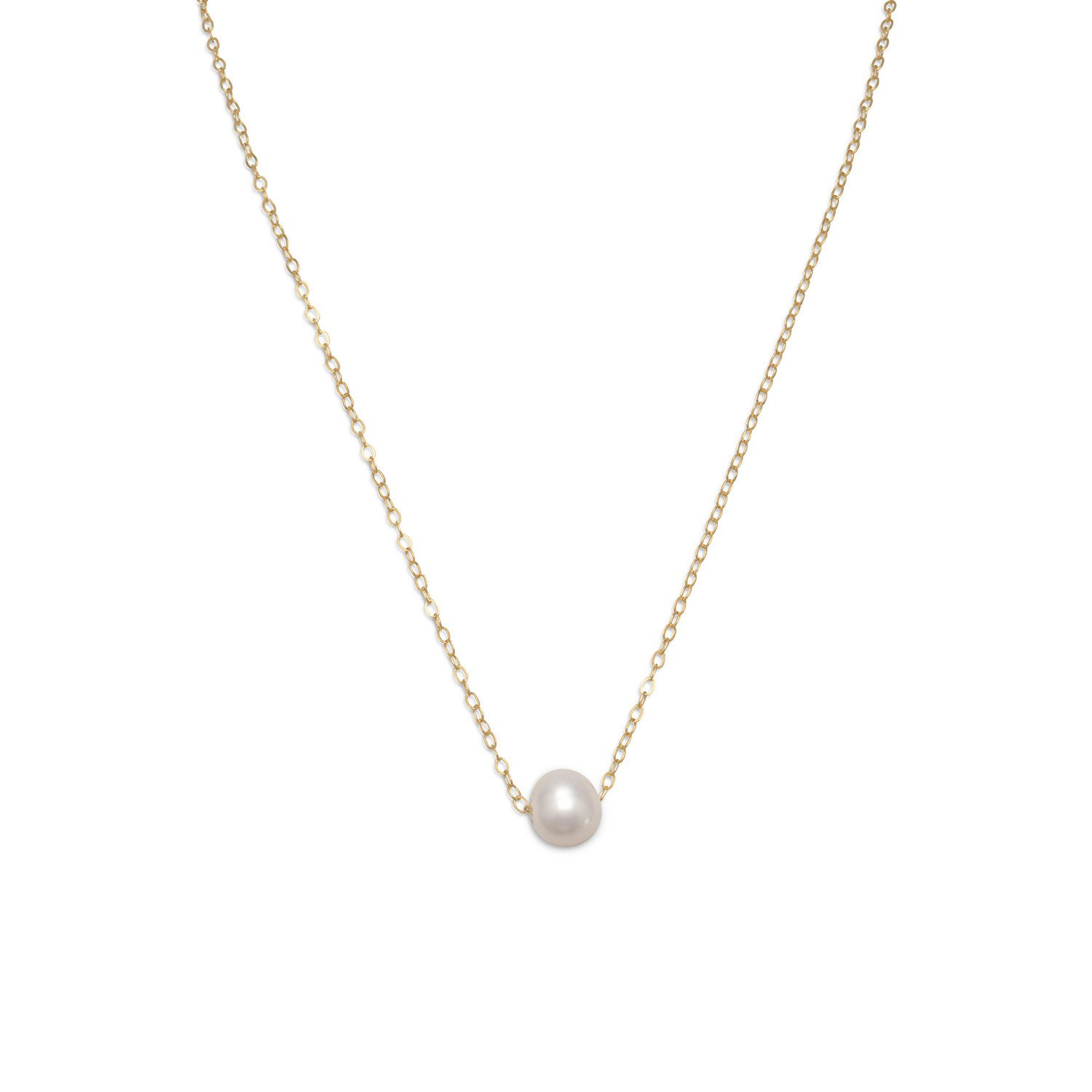 16″ + 2″ Gold Filled Floating Cultured Freshwater Pearl Necklace