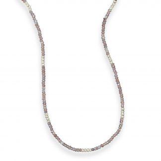 "42"" Labradorite and Silver Pyrite Bead Necklace"