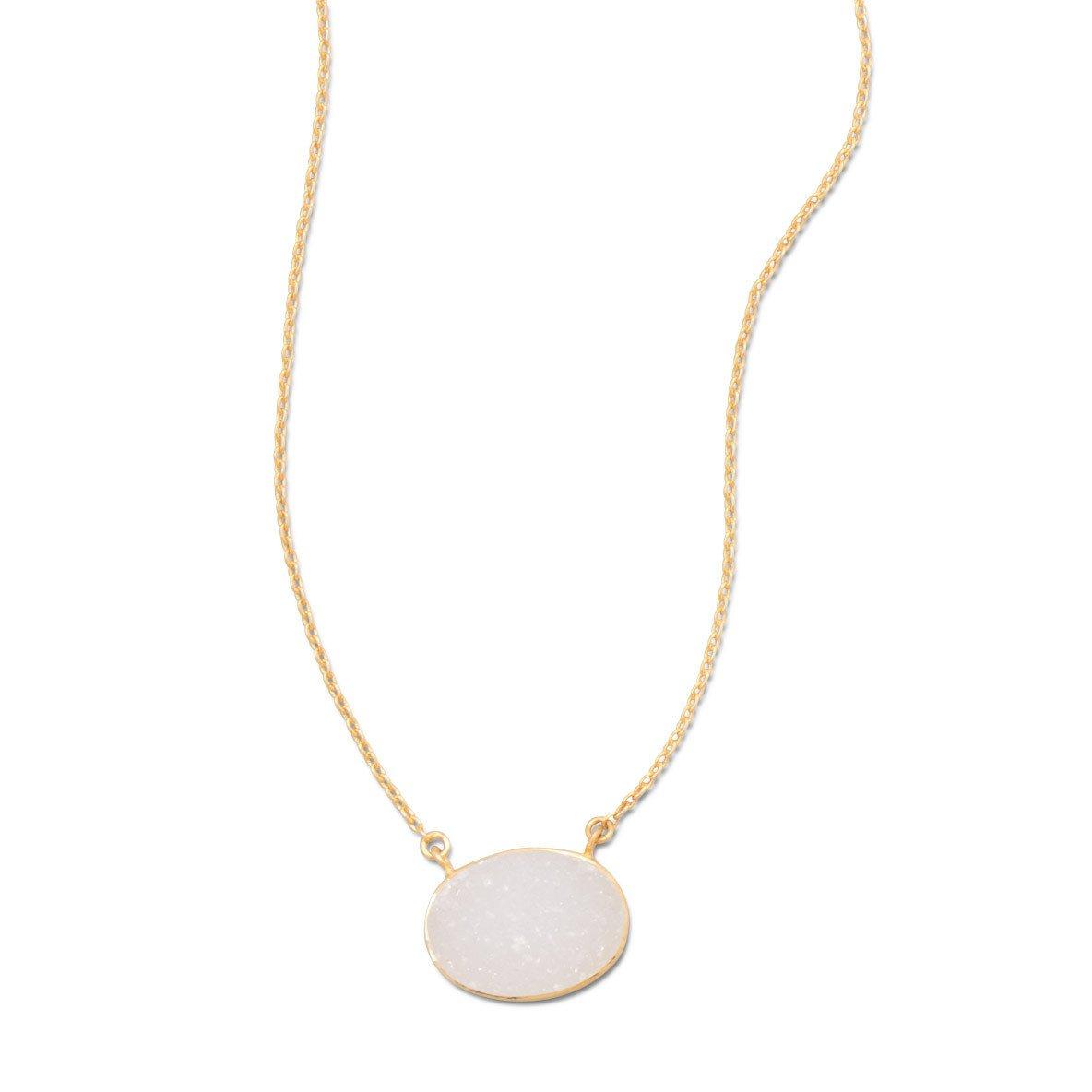 16″ + 2″ 14 Karat Gold Plated White Druzy Necklace